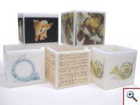 Caixas de parafina médias com motivos alusivos à colecção do museu